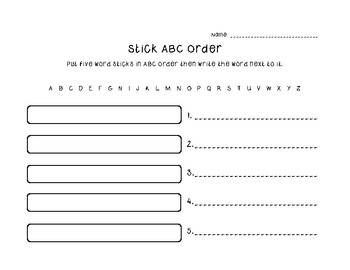 ABC Order Popsicle Stick Activity