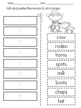 ABC Order Poster & Worksheets for 1st Grade