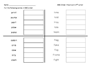 ABC Order Practice- 2nd Letter