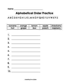 ABC Order Practice Fruit