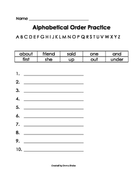 ABC Order Practice Repeated First Letters