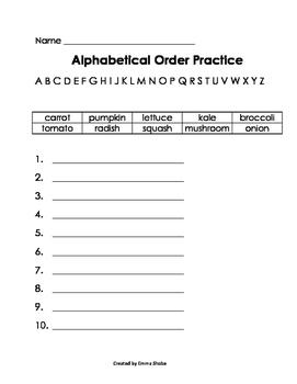 ABC Order Practice Vegetables