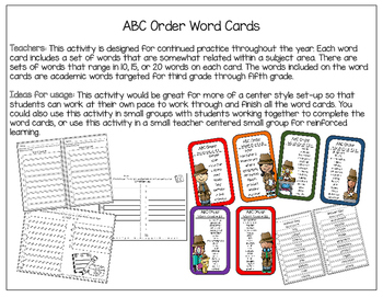 ABC Order Practice: Word Cards, Cut & Paste, and Word Lists
