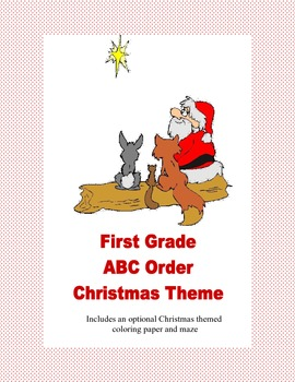 ABC Order Practice for First Grade With A Fun Christmas Theme