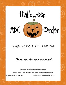 ABC Order Practice for Halloween