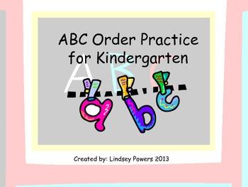 ABC Order Practice for Kindergarten