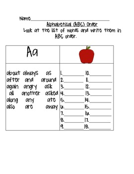 ABC Order Practice (words that begin with the same letter) by