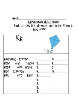 ABC Order Practice (words that begin with the same letter)