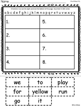 ABC Order Pre-Primer Dolch Sight Word Cut and Paste Packet