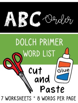 ABC Order Primer Dolch Sight Word Cut and Paste Packet