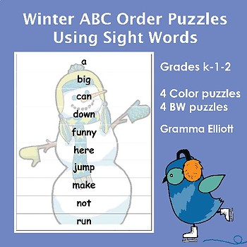 ABC Order Puzzles for Sight Word Practice with Winter Theme Freebie