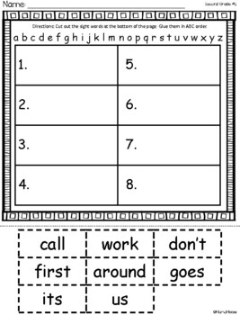 ABC Order Second Grade Dolch Sight Word Cut and Paste Packet