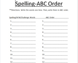 ABC Order Sheet