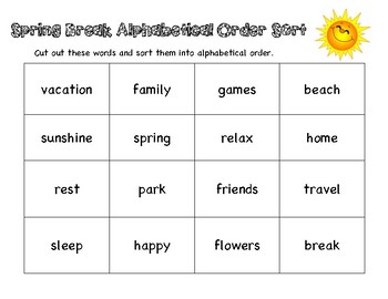 ABC Order Sort - Spring Break Theme