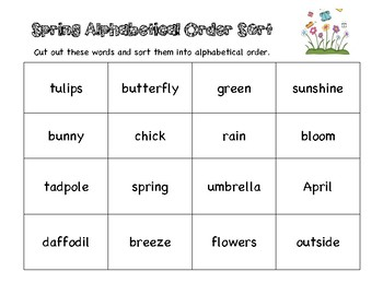 ABC Order Sort - Spring Theme