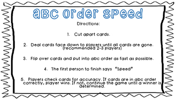 ABC Order Speed- Winter Edition