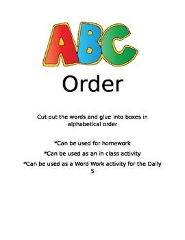 ABC Order Spelling for Reading Street