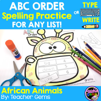 ABC Order Spelling Practice for Any List - African Animals
