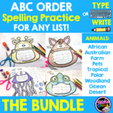 ABC Order Spelling Practice for Any List - Animal Bundle