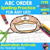 ABC Order Spelling Practice for Any List - Australian Animals