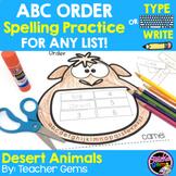 ABC Order Spelling Practice for Any List - Desert Animals