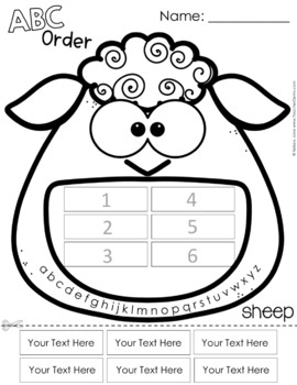 ABC Order Spelling Practice for Any List - Farm Animals