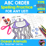 ABC Order Spelling Practice for Any List - Ocean Animals