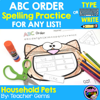ABC Order Spelling Practice for Any List - Pets