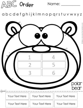 ABC Order Spelling Practice for Any List - Polar Animals