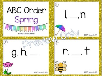 ABC Order ~ Spring ~ Task Cards, SCOOT, Write the Room