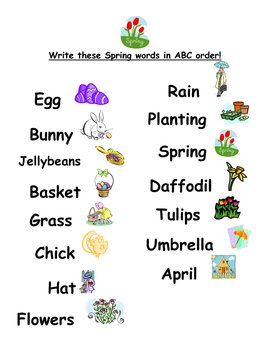 ABC Order Spring Words