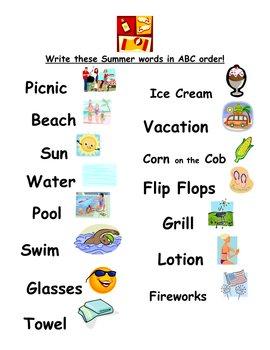 ABC Order Summer Words