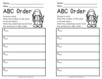 ABC Order Task Cards