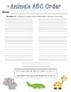 ABC Order Task Cards: Animals