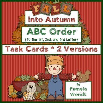 ABC Order Task Cards - Fall into Autumn Theme CCSS Aligned