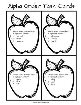 ABC Order Task Cards, Game Board, Assessment