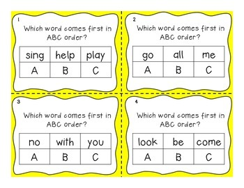 ABC Order Task Cards Journeys 1st Grade Unit 1 Vocabulary Words