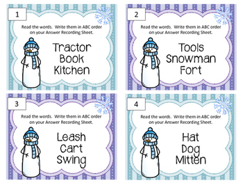 ABC Order. Task Cards. Language Arts Center. Alphabetical Order Review