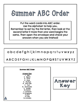 ABC Order Task Cards: Summer
