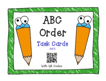ABC Order Task Cards with QR Codes Set 2