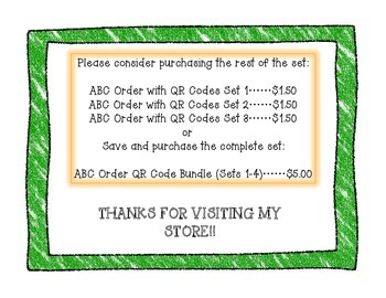 ABC Order Task Cards with QR Codes Set 4