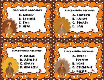 Thanksgiving Alphabetical Order Task Card Game