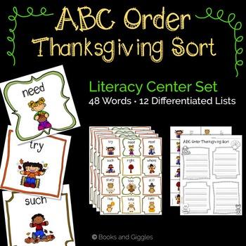 ABC Order Thanksgiving Theme Literacy Center