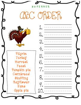 ABC Order Thanksgiving Words for November