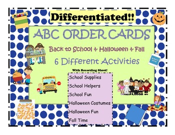 ABC Order Themed Cards: Back to School & Halloween...Differentiated!