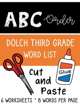 ABC Order Third Grade Dolch Sight Word Cut and Paste Packet