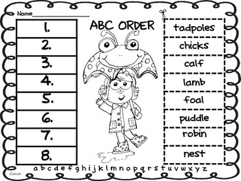 ABC Order Through the Year Cut and Paste