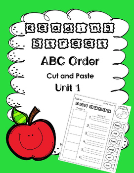 ABC Order. Unit 1. Reading Street. First Grade. Cut and Paste