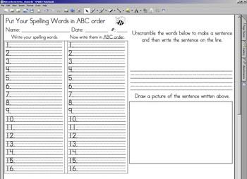 ABC Order & Unscramble Activity - 16 words w/ SMARTBOARD display