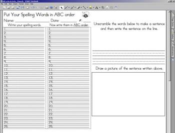 ABC Order & Unscramble Activity - 25 words w/ SMARTBOARD display